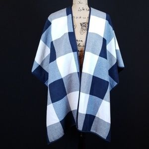 Woolrich navy plaid reversible poncho one size Rk